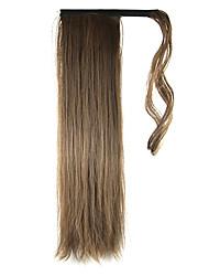 economico -24 pollici Marrone Con clip Dritto Code Arrotolare Sintetico Pezzo di capelli Estensione capelli
