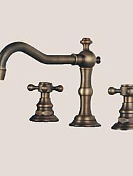 cheap -Bathroom Sink Faucet - Widespread Antique Bronze Widespread Two Handles Three Holes