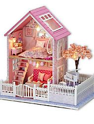 Недорогие -Чи весело дом поделки кабины розовый вишневый собран вручную модель дом творческий подарок на день рождения, чтобы отправить девушек
