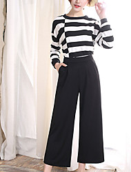 cheap -Women's Micro-elastic Wide Leg Jeans Pants Solid Polyester Summer
