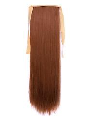 economico -24 pollici Castano miele Con clip Dritto Code Con nastro Sintetico Pezzo di capelli Estensione capelli