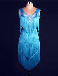 preiswerte -Werden wir Latin Tanz Outfits Frauen Performance Organza Pailletten Kleid