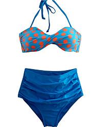 Mulheres Biquíni Poá / Retro Nadador Nylon / Elastano Mulheres