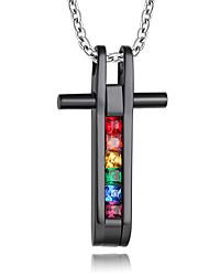 Недорогие -Муж. Жен. Ожерелья с подвесками / Кулоны - Титановая сталь, Искусственный бриллиант Дамы, Роскошь, С перекрещивающимися бретелями Черный Ожерелье Бижутерия Назначение Повседневные