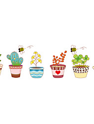Creative Design Colours 6 Potted With Bee Wall Stickers Fashion Leisure Removable Room Wall Decals