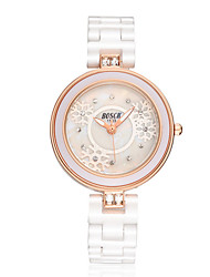 Women's Fashion Watch Simulated Diamond Watch Quartz Water Resistant / Water Proof Casual Watch Ceramic Band White