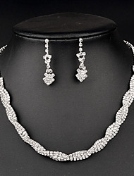 Women's Jewelry Set Crystal Fashion Bridal Rhinestone Necklaces Earrings For Wedding Party Special Occasion Anniversary Birthday Gift