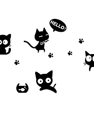 cheap -Lovely Black Cats With Footprints Wall Stickers Removable Bedroom/Living Room/Notebook Wall Decals PVC