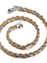 Homens Feminino Colares em Corrente Aço Inoxidável 18K ouro Moda Jóias Para Diário Casual