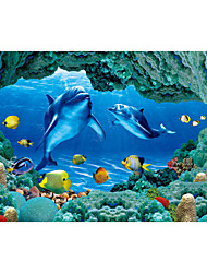 cheap -JAMMORY 3D Wallpaper Contemporary Wall Covering,Canvas Stereoscopic Large Mural Blue Dolphin Submarine