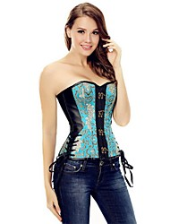 cheap -YUIYE® PU Leather Corset Overbust Shapewear Bustier Corset Cincher Leather Slim Shape Womens Waist Blue Plus Size