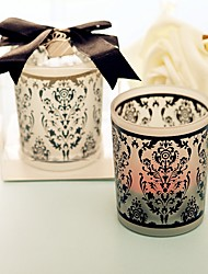 Classic Theme - Recipient Gifts - Black And White Glass Candle Holder Damask Tea Party Decoration