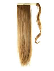 economico -24 pollici Biondo ramato Con clip Dritto Code Arrotolare Sintetico Pezzo di capelli Estensione capelli