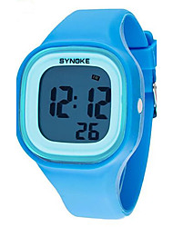 SYNOKE Kids' Wrist watch Quartz LCD Calendar Chronograph Water Resistant / Water Proof Alarm Luminous Plastic Band Black White Blue