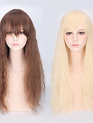 cheap -Loose Wave Brown Color Blonde Color Cosplay Lolita Lovely Natral Synthetic Wigs with Bang Heat Resistant