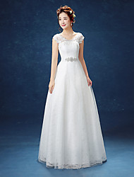 cheap -A-Line Scoop Neck Floor Length Lace Satin Tulle Wedding Dress with Appliques Crystal Detailing Lace by QQC Bridal