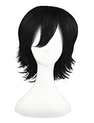 preiswerte -Synthetische Perücken Glatt Synthetische Haare Schwarz Perücke 13 cm Cosplay Perücke Kappenlos