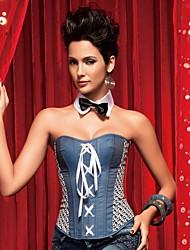 YUIYE® Women Blue Square Sexy Lingerie Waist Training Corset Bustier Tops Shapewear  Overbust Corset Plus Size S-2XL