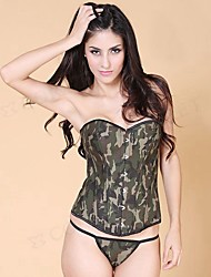 cheap -YUIYE® Women Camo Green Army Sexy Lingerie Waist Training Corset Bustier Tops Shapewear Overbust Corset Plus Size