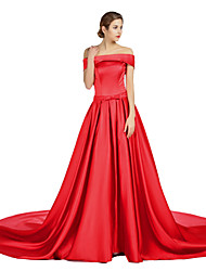 cheap -A-Line Off-the-shoulder Court Train Satin Formal Evening Dress with Draping Pockets Sash / Ribbon by A-Fu