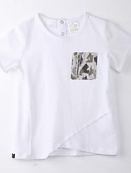 Menina de Camiseta Estampado Algodão Verão Branco