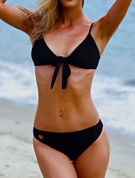 cheap -Women's Love Hollow Swim Shorts , Solid Nylon Black