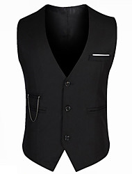 cheap -Men's Slim Vest-Solid Colored / Sleeveless / Work