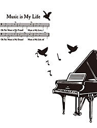 cheap -European Style Big Piano Note Wall Stickers DIY Fashion Music Is My Life Wall Decals