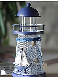 cheap -RGB Wrought Iron Lighthouse Candle Holder Mediterranean Style Romantic Home decoration Gifts Crafts