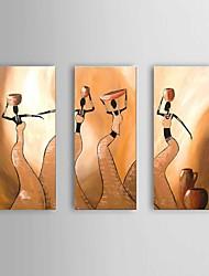 Dipinta a mano Astratto / Ritratti / Ritratti astratti Dipinti ad olio,Modern / Classico / Stile europeo Tre Pannelli TelaHang-Dipinto ad