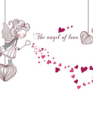 cheap -Happy Home The Angel Of Love Heart Wall Stickers DIY Removable Romance Bedroom Wall Decals