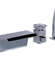 billige -Badekar & Bruser Vandfald Tre Huller Enkelt håndtag tre huller Krom , Badekarshaner