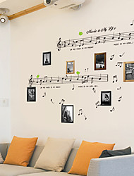 cheap -Vintage DIY Design Music Note PVC Wall Sticker Drawing Room Wall Decor Plane Wall Stickers
