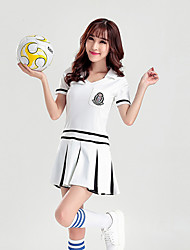 Shall We Cheerleader Costumes Dresses Women Performance Cotton / Polyester Pleated Dance Costumes White