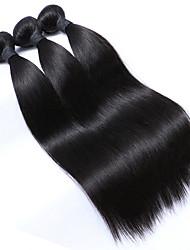 Недорогие -Натуральные волосы Малазийские волосы Человека ткет Волосы Прямые Наращивание волос 3 предмета Естественный цвет