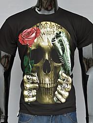 Men's Short Sleeve 3D T-Shirt , Cotton / Work / Sport Round collar Short Sleeve T-Shirts (Cotton/Knitwear)