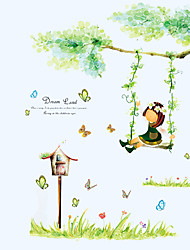 cheap -Butterfly Garden Girl Swing Wall Stickers DIY Removable Living Room Bedroom Wall Decals