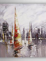 ručně malované olejomalba krajina loď v blízkosti přístavu II s nataženém rámem 7 stěny arts®
