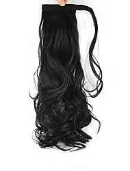cheap -Clip In Wavy Curly Ponytails Wrap Around Synthetic Hair Piece Hair Extension 24 inch Natural Black