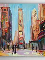 mão pintura a óleo pintado paisagem da cidade vista da rua ii, com quadro esticado arts® 7 parede