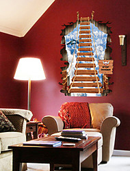 cheap -3D Wall Stickers Fashion Dream Ladder PVC Room Wall Decals Removable