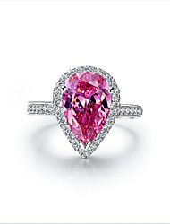 7*11mm 3CT Pink Jewelry Pear Diamond Ring for Women Sterling Silver Female Halo Style Engagement SONA Drop Diamond Ring