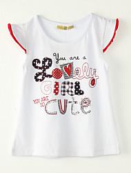 abordables -Camiseta Chica de-Noche-Estampado-Poliéster-Verano-Blanco
