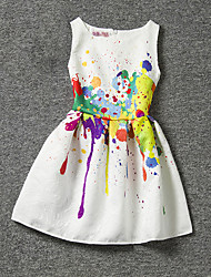 cheap -Girl's Dress, Polyester Summer Sleeveless Floral White