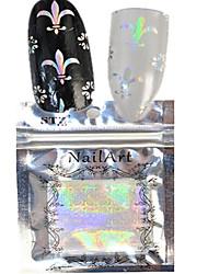 1pcs 100 * 4cm transparente Laser Nagel-Kunst-Funkeln-Aufkleber DIY schöne Blume geometrischen Bild Nagelschönheit lt09-12