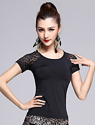 cheap -Latin Dance Tops Women's Performance Spandex  1 Piece M/L/XL Black Colors Short Sleeve Backless