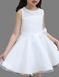 Girl's White Dress / Clothing Set,Solid Polyester Summer