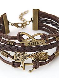 cheap -Women's Wrap Bracelet Friendship Bracelet Personalized Vintage Multi Layer Handmade Inspirational European Alloy Owl Infinity Anchor