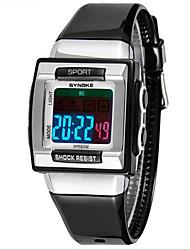 Недорогие -SYNOKE Дети Спортивные часы Наручные часы Кварцевый LCD Защита от влаги тревога Светящийся Plastic Группа Черный Белый Фиолетовый