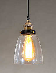 cheap -Industrial Edison Simplicity Glass Pendant Lights Metal Base Cap Dining Room / Study Room/Office / Hallway light Fixture